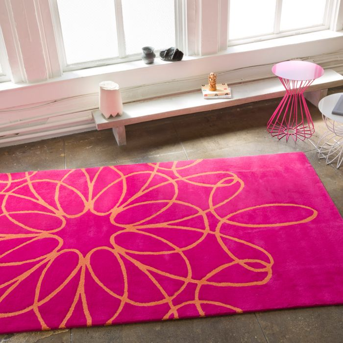 Ribbon Area Rug Pink Orange