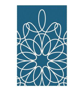 Ribbon Area Rug - Turquoise/White